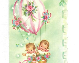 Vintage UNUSED BIRTHDAY Card Little Angels in Hot Air Balloon Pastels Marjorie Cooper 1950s Mid Century Greeting