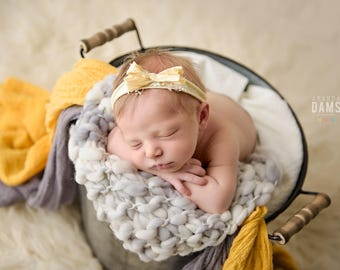 BOW HEADBAND, Newborn Headband, Yellow Bow Headband, Yellow Headband, Tieback Headband, Newborn Props, Photography Props, Photo Prop