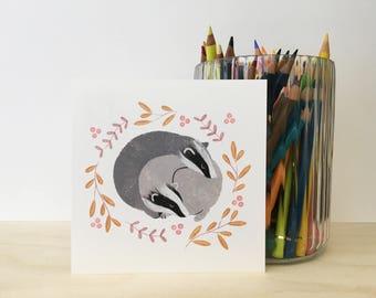 Badger Cuddle Illustration postcard