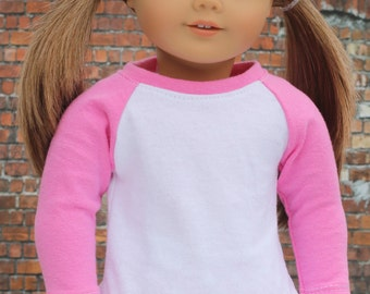 Doll Clothes | Trendy Pink and White Long Sleeve Fitted BASEBALL TEE for 18 Inch Doll such as American Girl Doll