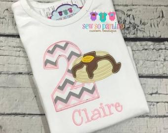 Girl Pancake Birthday Shirt - Pancake Birthday Outfit - 2nd birthday shirt girl - Pancake birthday shirt - Pancake party shirt - ANY AGE