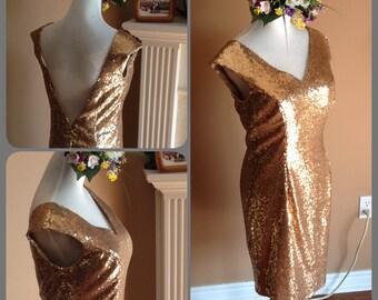 Short Sequin bridesmaid dress, Gold sequin prom dress, Short sequin gold dress