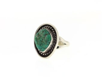 Vintage Turquoise Sterling Ring, Vintage Rope Design Southwestern Jewelry