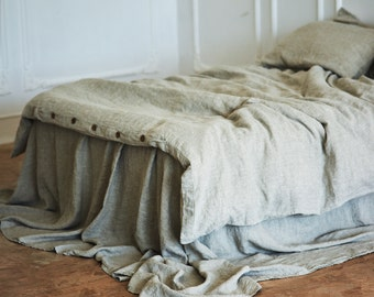 Linen DUVET COVER or SET with 2 pillowslips Queen King Twin Full. Seamless 100% linen duvet cover. Natural gray color of linen doona cover