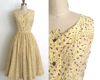 vintage 1950s dress | 50s novelty bug print dress