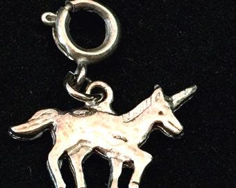 Unicorn Charm, Silver Tone Unicorn Pendant, Springring Fastener, Charm Bracelet, Distressed Mythical Beast, Fantastic Creature