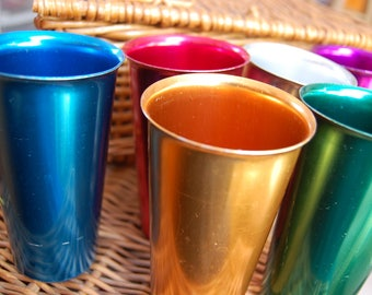 Vintage Anodized Aluminum Tumblers / Six Multi Colored Drinking Glasses