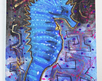 Tangled up in Blues Electric Seahorse Original Painting Postcard