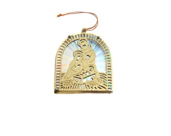 Nativity Ornament, Manger Scene, Reflective Holographic Gold Nativity Scene, Vintage Christmas Tree Ornament