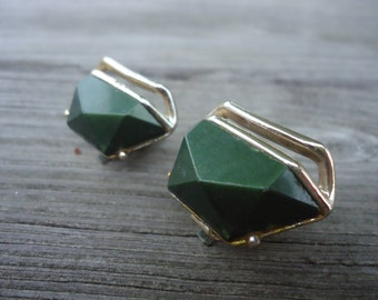Olive Green and Gold Retro Clip On Earrings