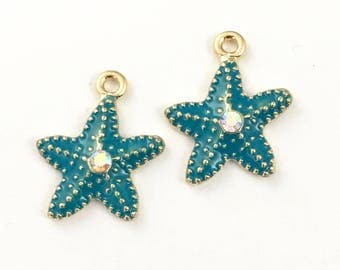 2 blue starfish enamel and gold tone 20mm #CH 518