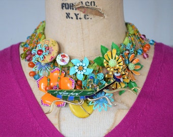 Grasshopper necklace, Colorful necklace, Whimsical necklace, Bold necklace, Happy necklace, Spring necklace, Flower necklace, Fun necklace