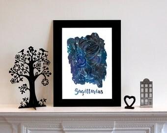 Sagittarius Zodiac Constellation Print // Star Sign // Art Print // Fashion Illustration // Gift for Sagittarius // Gift for Her
