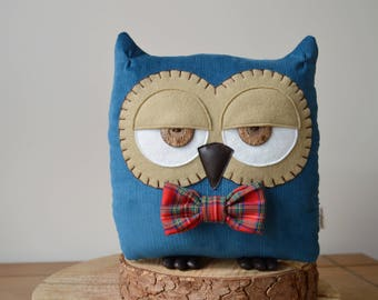 "Father's Day Gift, Owl Cushion, Owl Pillow, Decorative Owl, Owl Decor, Owl Gift (Petrol Blue with Custom Bow Tie) - ""Terry the Owl"""