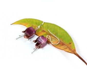 Pink Tulip Earrings, Tulip Jewelry, Silver Earrings, Flower Earrings, Copper Tulip, Fold Formed Earrings, Copper Earrings, Tulip Flower