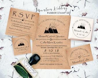 Mountain Stamps, Mountain Wedding, Outdoor Stamp, Adventure Wedding, Custom Mountain Stamp, Wanderlust, Outdoor Rustic Wedding   CS-10306