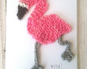 Flamingo card; knitted flamingo card; blank flamingo card; flamingo gift; flamingo birthday card; card for her