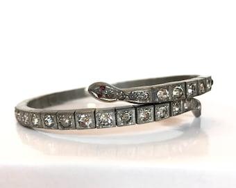 Vintage Snake Bracelet Art Deco Antique Paste Snake Bracelet Rhinestone Serpent Bangle Wrap Silver Crystal Bracelet Vintage Estate Jewelry