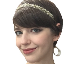 Champagne 1920 headpiece, roaring 20s headpiece Gatsby Theme Wedding 1920s Art Deco Flapper Headdress Champagne Blush Bridal Hair Band