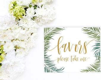 Favors Printable Sign, Tropical Wedding Sign, 8x10 Favors Sign, Gift Table Sign, Tropical Bridal Shower, Tropical Baby Shower, BAS14 BRS4