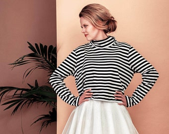 Striped top RINA, stripe shirt, turtle neck
