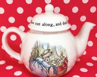 Vintage Nursery Wedgwood Beatrix Potter Peter Rabbit Child's Teapot & Lid