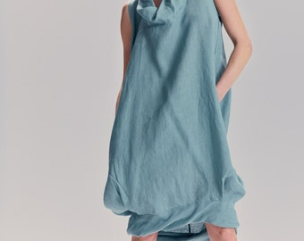 Turquoise Loose Balloon Dress / Linen Dress With Hidden Side Pockets / Casual Linen Dress / Extravagant Tunic By AryaSense / DRNLN17TQ