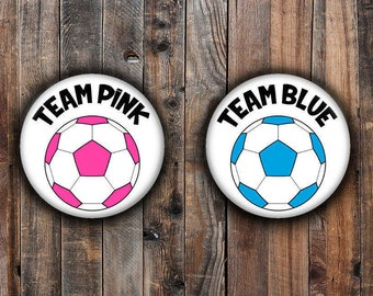 Pink and Blue soccer ball gender reveal pins