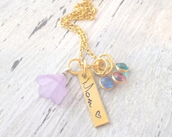 Personalized Mom Necklace, Birthstone Necklace