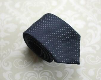 80s Does 60s Necktie - Rockabilly Tie - Navy Blue and White Tie - Polka Dot Necktie - Vintage Castle Tie - Retro Mod Tie - Dapper Dude Gift