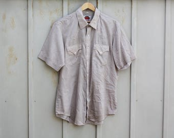 Vintage Beige Button Down Shirt - Miller Western Wear Shirt for Men - 80s Pearl Snap Button Shirt - Short Sleeve Folk Shirt - Indie Shirt