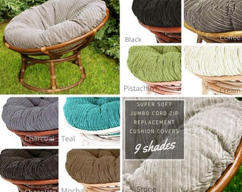 Washable Zip Papasan Chair Cushion Covers - Jumbo Cord - Choice of Colours
