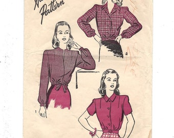 1940s Advance 3946, Lumberjack Blouse in Three Styles, Unprinted Sewing Pattern, Size 14 Bust 32