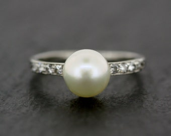 Art Deco Pearl Ring - Antique Art Deco Pearl & Diamond Ring - Natural Pearl Engagement Ring