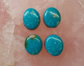 Blue Turquoise Oval Cabochon Set / set of 4/ backed/ Sonora Mexico