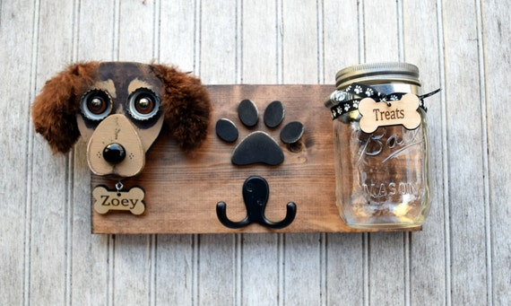 Doggie treats and leash