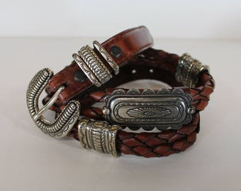 Vintage 1990's 1996 JUSTIN Brown Leather Braided Concho Western Snap Belt 30 M