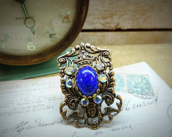 Coat of arms, lapis lazuli, steampunk, pirate ring