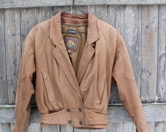 Brown Leather Aviator Bomber Jacket
