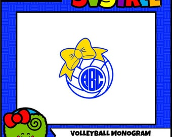 Volleyball SVG Volleyball Monogram SVG Bow SVG Commercial Free Cricut Files Silhouette Files Digital Cut Files Circle Monogram svg