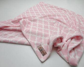 Clearance!  Light Pink Lattice Minky Baby Blanket - Ready to Ship