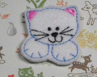 Kitty Cat felties, feltie, machine embroidered, felt applique, felt embellishment, hairbow center, scrapbook embellishment