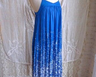 Blue Splatter Rayon Maxi Dress