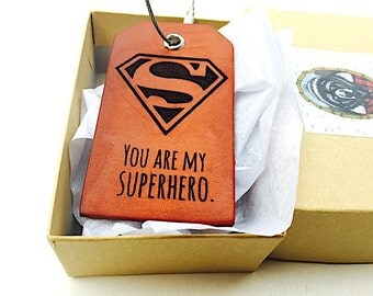 Mens Leather Luggage Tag, Fathers Day Dad Gift, Travel, For Husband From Son, Superhero Daddy Gift, Baggage Tag