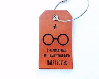 Leather Harry Potter Luggage Tag, Baggage Tag, I solemnly swear I am up to no good, Hogwarts Gift, Dumbledore, Baggage Tag, Teen Gift,