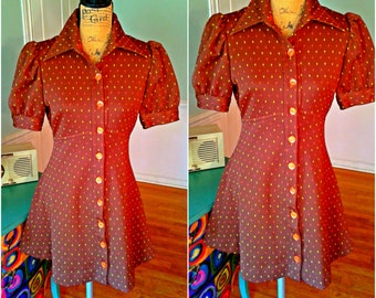 Groovy Mod Go~Go Dress / 60's 70's Vintage / Mini Dress / Puff Sleeves / Empire Waist / Rockabilly / Hippie / Party dress / Medium