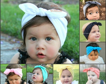Top knot baby girl headband, 22 colors, baby head wrap, knot tie, infant headbands, 1st birthday, newborn headbands, white knot headband,
