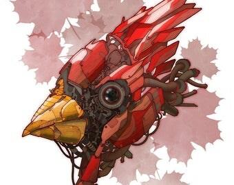 Robot Cardinal Bird 8x10 Digital Print
