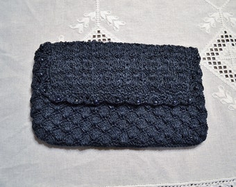 Vintage Clutch Purse Navy Blue Crocheted with Beads Made in Japan PanchosPorch