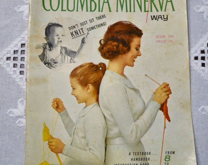 Teach Yourself to Knit the Easy Way Columbia Minerva Vintage Instructional Pattern Magazine PanchosPorch